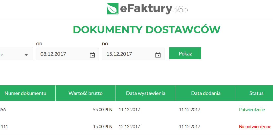 eFaktury365: nowy moduł – Dokumenty dostawców